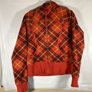 Lululemon Orange Plaid Scuba Zip-Up Hoodie